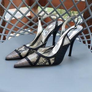 Metallic & Snake Patchwork Slingback Heels